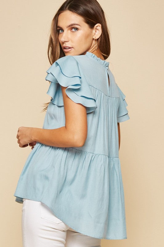 LIGHT BLUE RUFFLE TOP