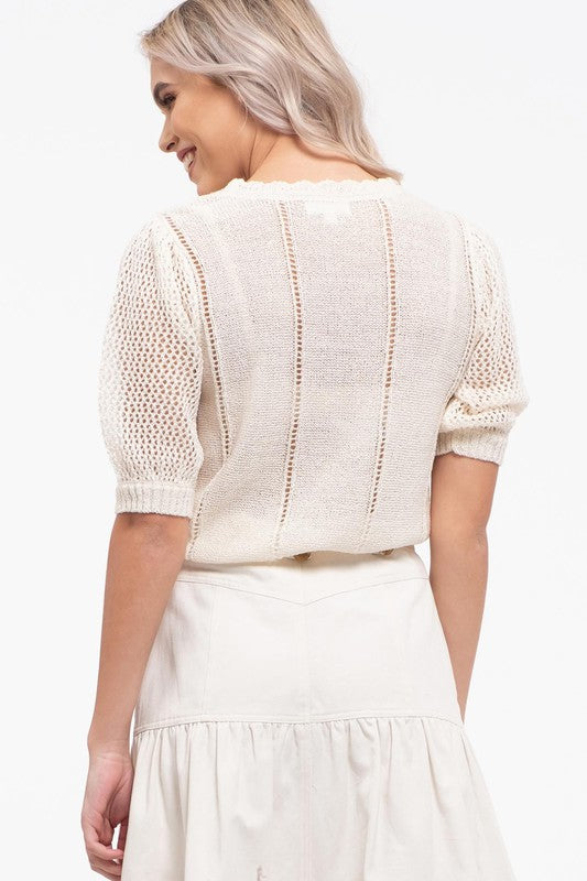 KNIT IVORY TOP