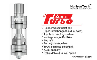 Turbo-charge your vape with the Arctic Turbo Sub Ohm Tank. Its innovative Sextuple coil design and turbine will provide you the thickest and richest clouds you have ever seen.