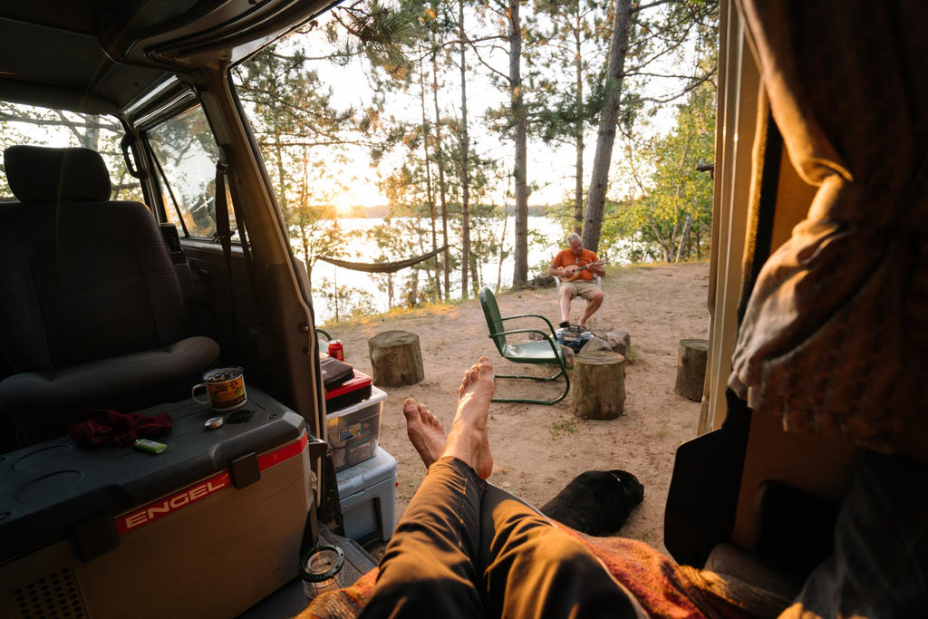fits ambassador aidan lynn-klimenko camping outside his van