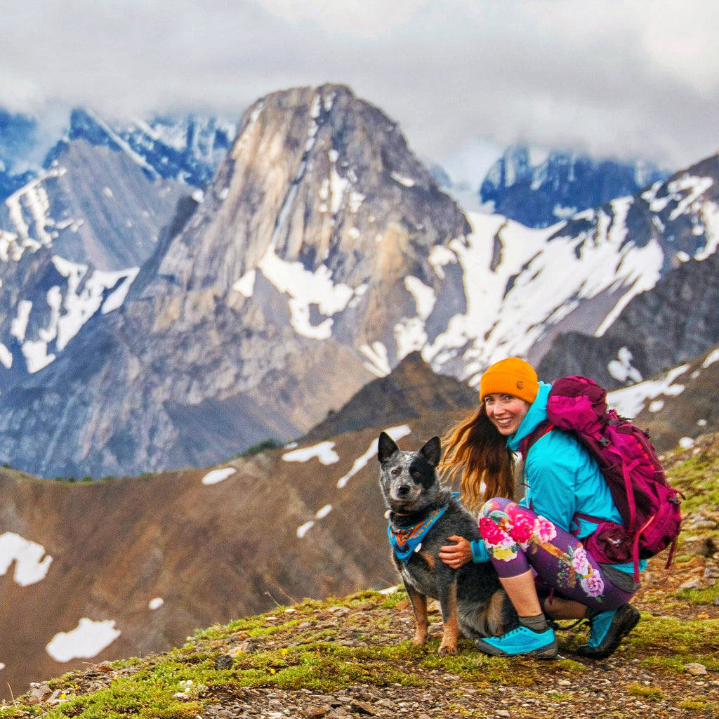 photographer viktoria wakefield and her dog hiking in canada