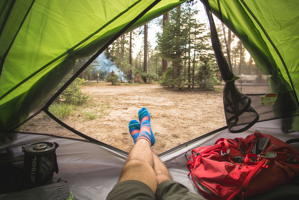fits sock ambassador jose romero wearing fits socks camping