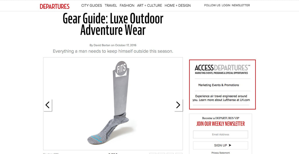fits sock featured in departures magazine for luxe outdoor gear