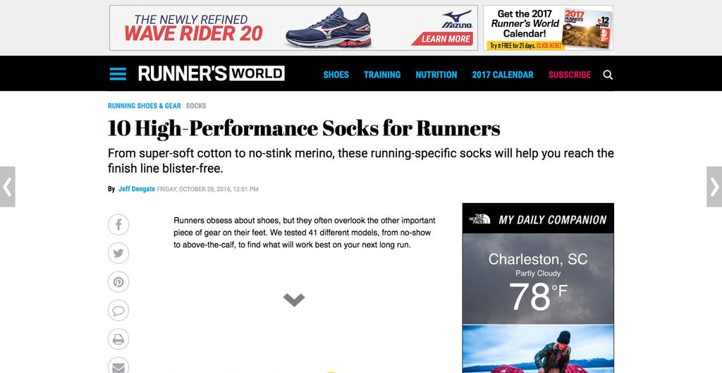 runners world featuring fits as best running sock