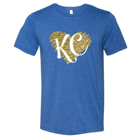KC Heart Triblend Tee in royal