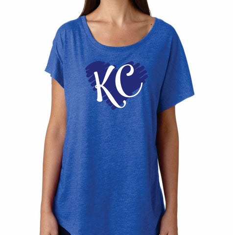 Ladies Dolman KC Heart tee