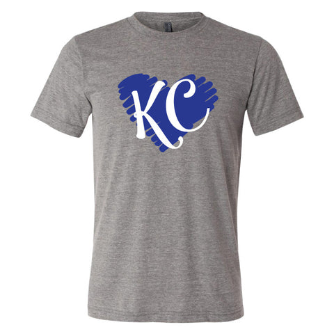 KC Heart Triblend Tee in athletic grey