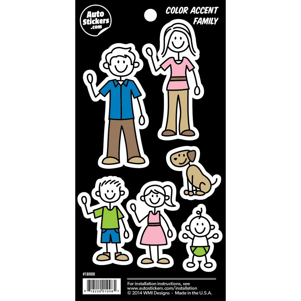 Color accent family stickers 4 x 8 decalcomania