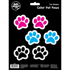 Color Pet Paws Car Stickers Decals