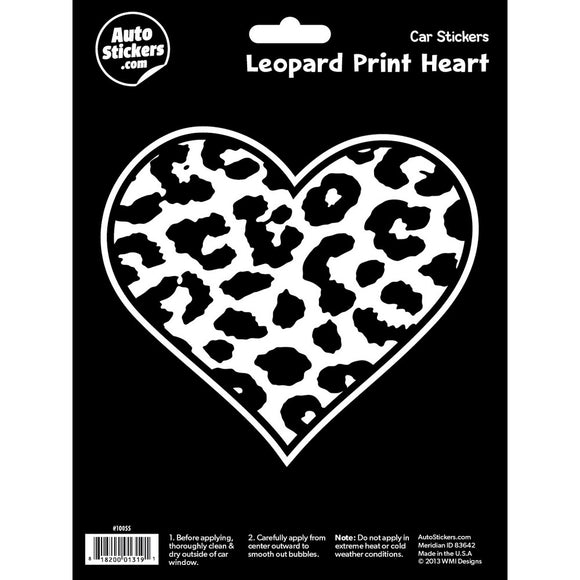 Leopard Print Heart Car Sticker