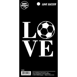 "Love Soccer Sticker - 4"" x 8"""