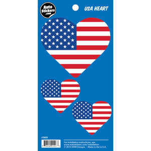 USA American Flag Heart Stickers 3 Fun Size Decals