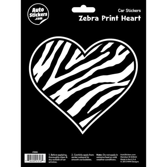 Zebra Print Heart Car Sticker