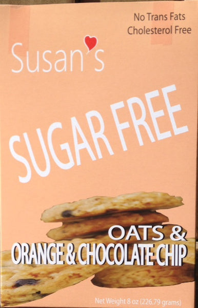 Susan's Sugar Free Vegan cookies - Orange & Chocolate Chips - Healthy Cookies Direct