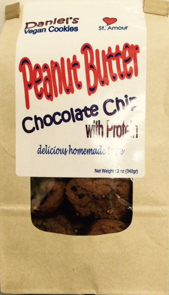 DANIEL'S VEGAN - Peanut Butter - Chocolate Chips - with protein - Healthy Cookies Direct