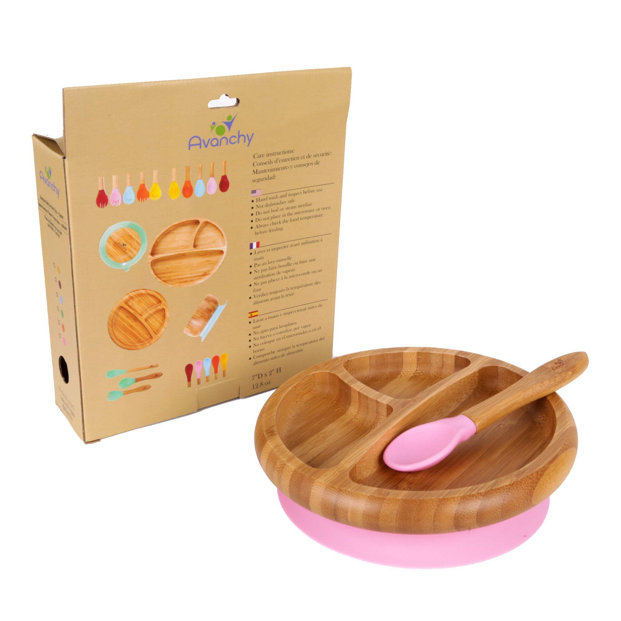 Bamboo Stay Put Suction Toddler Divided Plate + Spoon (Pink)