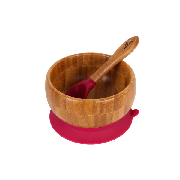 Bamboo Stay Put Suction Baby Bowl + Spoon (Magenta)