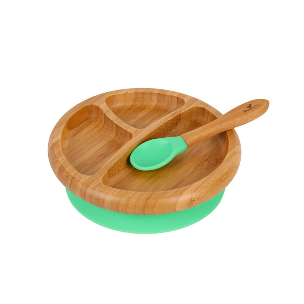 Bamboo Stay Put Suction Toddler Divided Plate + Spoon (Green)