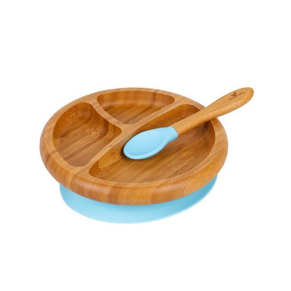 Bamboo Stay Put Suction Toddler Divided Plate + Spoon (Blue)