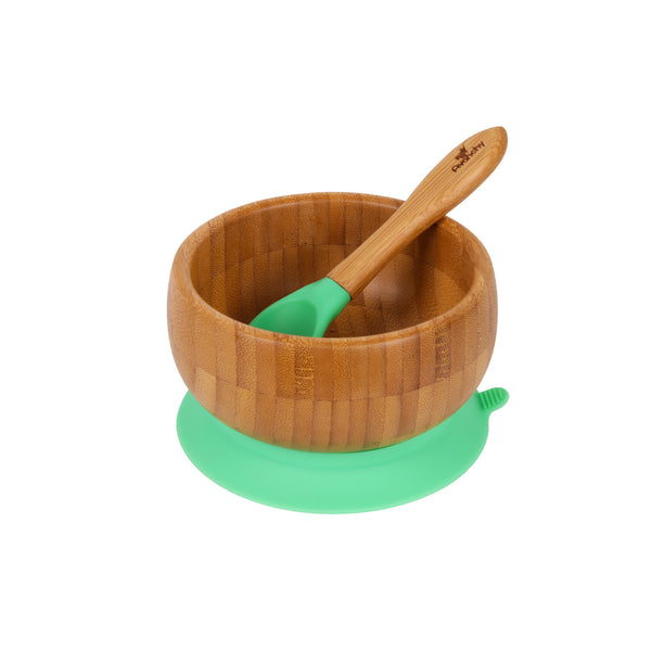 Bamboo Stay Put Suction Baby Bowl + Spoon (Green)