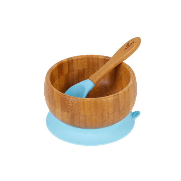 Bamboo Stay Put Suction Baby Bowl + Spoon (Blue)