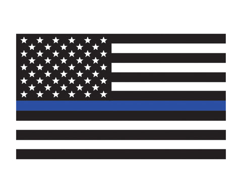 "Thin Blue Line Flag Window Decal 3x5"" Vinyl Sticker"