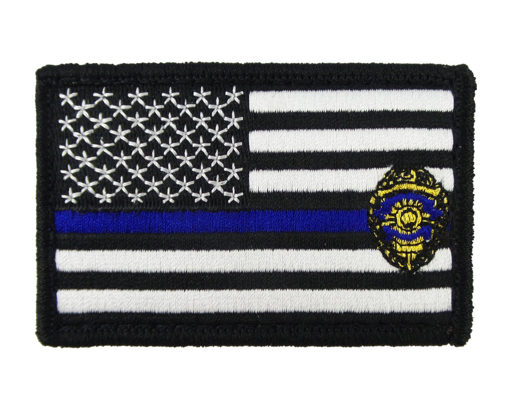 USA American Thin Blue Line Badge Police Flag Tactical Velcro Fully Embroidered Morale Tags Patch