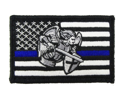 USA American Thin Blue Line Saint Michael Police Flag Tactical Velcro Fully Embroidered Morale Tags Patch