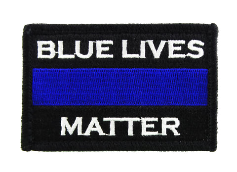 Police Blue Lives Matter Thin Blue Line Embroidered Velcro Tactical Morale Tags Patch