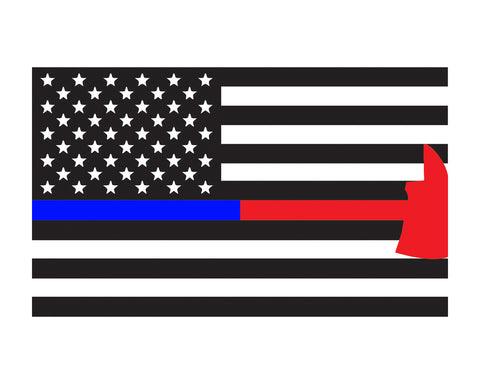 "Thin Blue & Red Line Police & Firefighter Axe Flag Window Decal 3x5"" Vinyl Sticker"