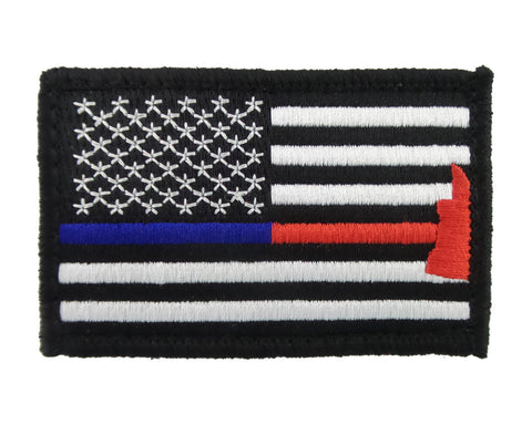 d22611f3597 Police   Firefighter Axe Thin Blue   Red Line Tactical Velcro Fully Embroidered  Morale Tags Patch