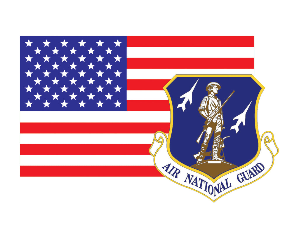 American Flag with Air National Guard Emblem ANG Logo Vinyl Decal Sticker for Cars Trucks Laptops etc. 3.22x5 …
