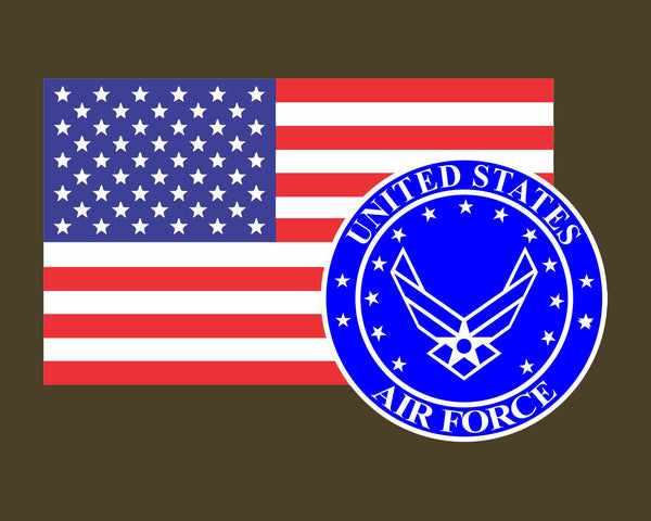 American Flag with Air Force Emblem USAF Logo Vinyl Decal Sticker for Cars Trucks Laptops etc. 3.22x5 …