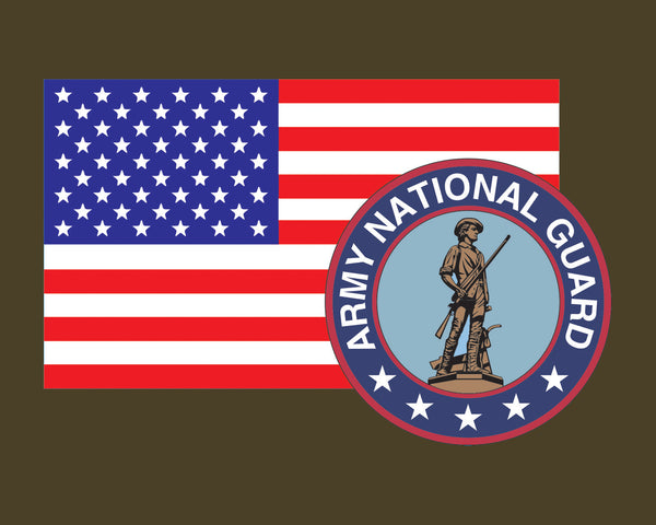 American Flag with Army National Guard Emblem ARNG Logo Vinyl Decal Sticker for Cars Trucks Laptops etc. 3.22x5 …