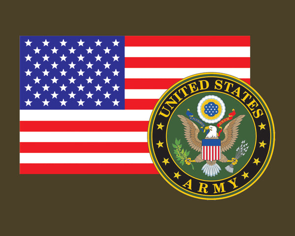 American Flag with Army Emblem US Army Logo Vinyl Decal Sticker for Cars Trucks Laptops etc. 3.22x5 …