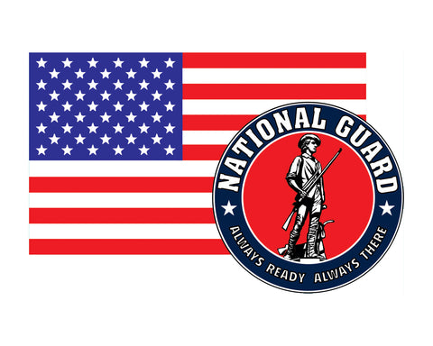 American Flag with National Guard Emblem ARNG Logo Vinyl Decal Sticker for Cars Trucks Laptops etc. 3.22x5 …