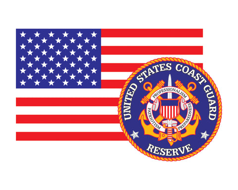 American Flag with Coast Guard Reserve Emblem USCG Reserve Logo Vinyl Decal Sticker for Cars Trucks Laptops etc. 3.22x5 …