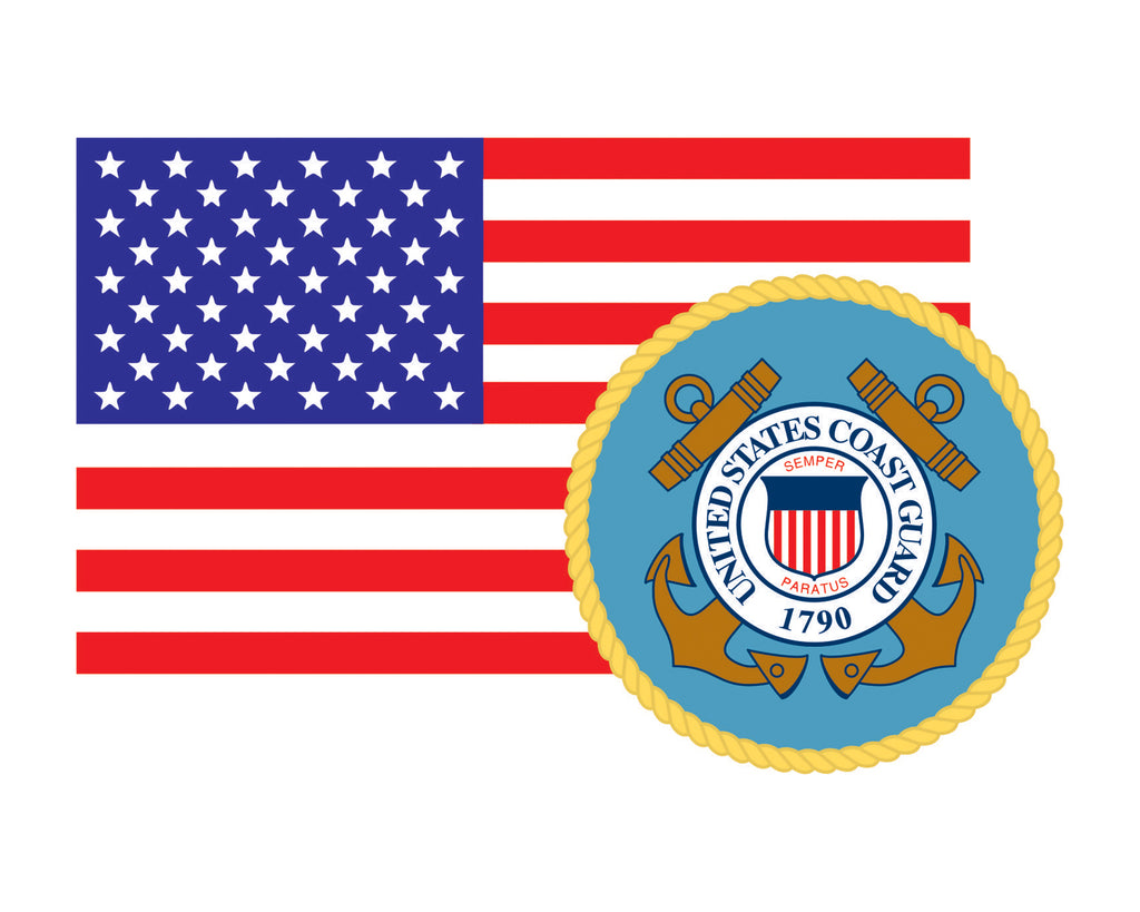 American Flag with Coast Guard Emblem USCG Logo Vinyl Decal Sticker for Cars Trucks Laptops etc. 3.22x5 …