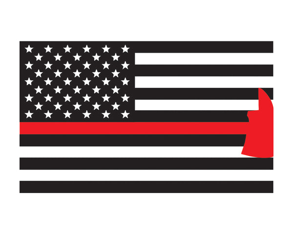 "Firefighter Axe Flag Window Decal 3x5"" Vinyl Sticker"