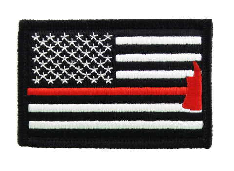 Firefighter Axe US Flag Thin Red Line Embroidered Velcro Morale Patch