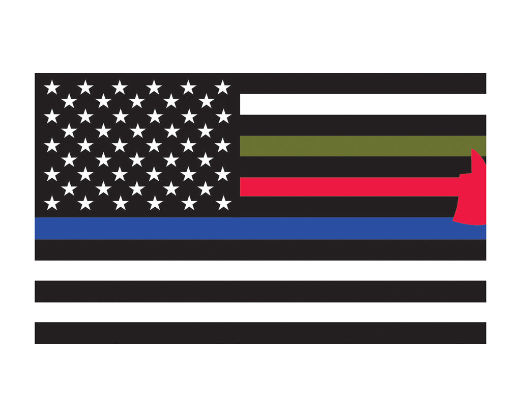 First Responder Flag American Flag Thin Red Blue Green Flag Vinyl Decal Sticker 3x5