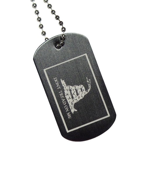 "Gadsden Flag Dog Tag with Chain ""Don't Tread on Me"""
