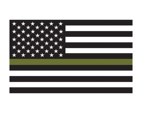 Military Support Flag American Flag Thin Green Flag Vinyl Decal Sticker 3x5