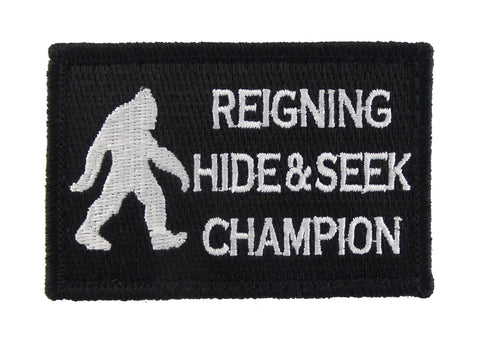 Bigfoot Reigning Hide and Seek Champion Tactical Velcro Fully Embroidered Morale Tags Patch