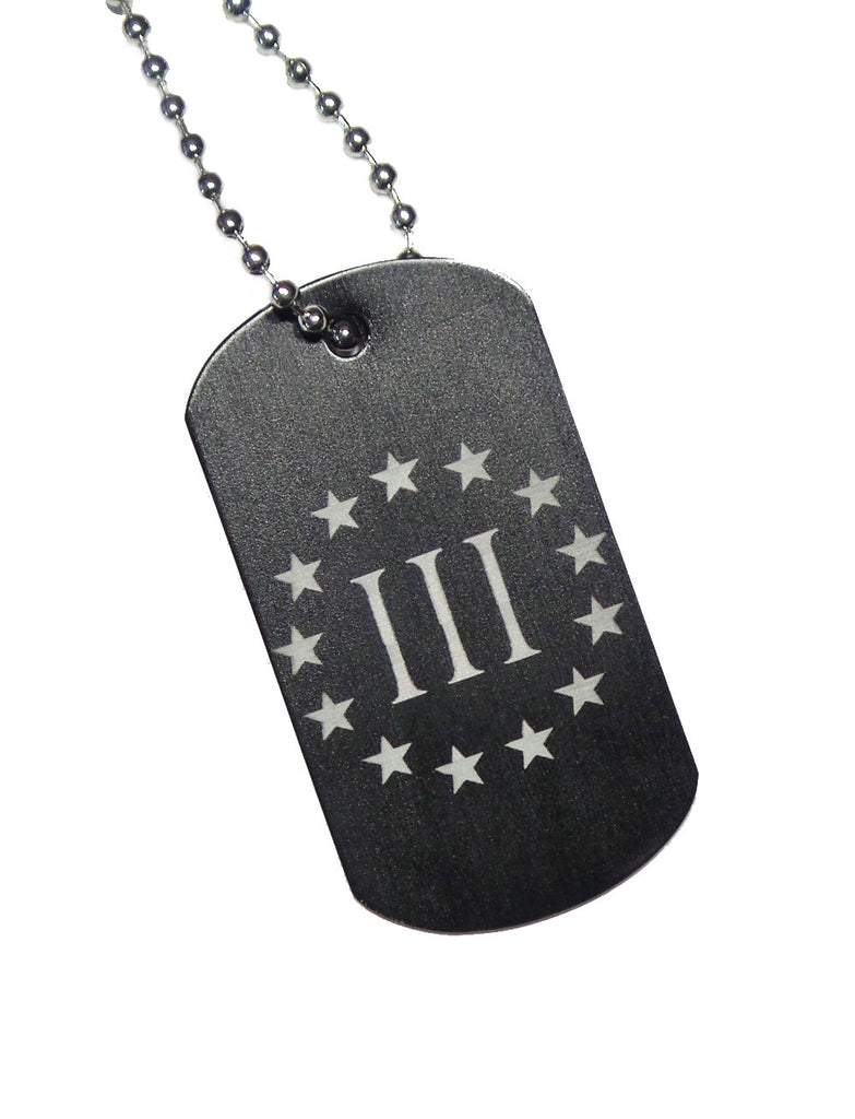 III Percent Dog Tag with Chain