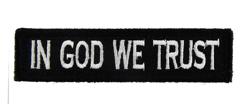 In God We Trust Tactical Velcro Fully Embroidered Morale Tags Patch 1 x 4