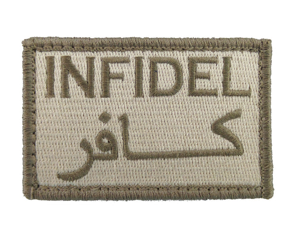 Infidel Arabic English Tactical Funny Velcro Fully Embroidered Morale Tags Patch