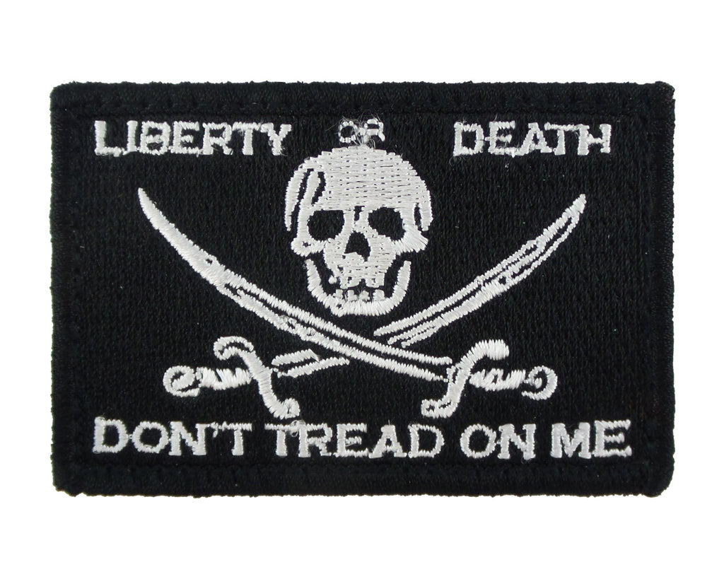 Jolly Roger Liberty or Death Tactical Velcro Fully Embroidered Morale Tags Patch