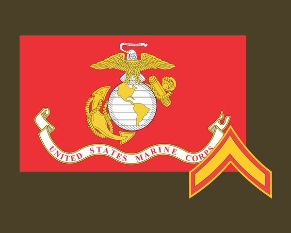 Marine Corps Flag USMC with PFC rank 3.22x5 Vinyl Decal Sticker for Cars Trucks Laptops etc...
