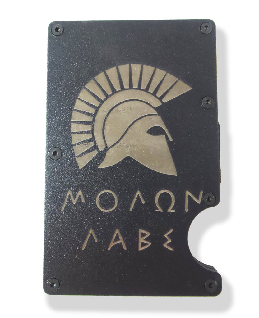Molon Labe Spartan Wallet Engraved RFID Blocking Thin Card Organizer Money Clip